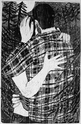 WordSmiths featured Artist: Giordanne Salley, Night Kiss in the Woods, Woodcut Print