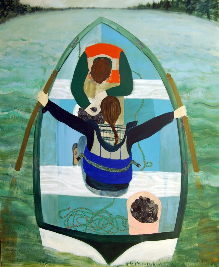 Boat Painting, oil and paper on canvas 96in x 78in 2012