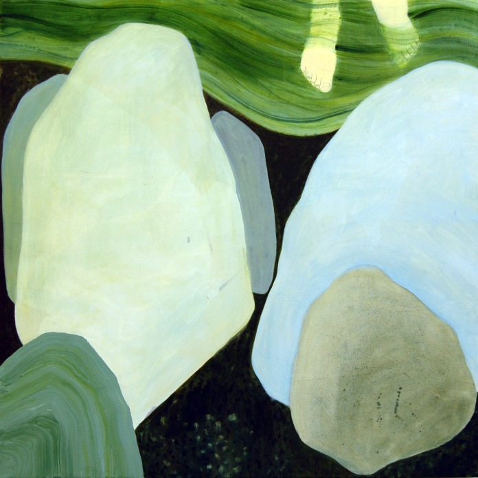 Cold River, oil and paper on canvas, 52in x 52in 2012