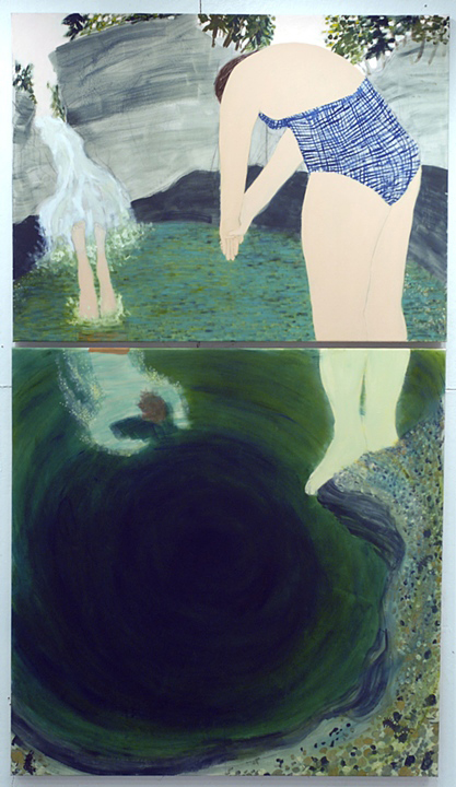 Cady's Falls (diptych) 2012 oil on canvas, 84in x 48in