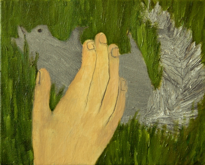 Dead Squirrel, oil and paper on canvas, 8in x 10in 2013